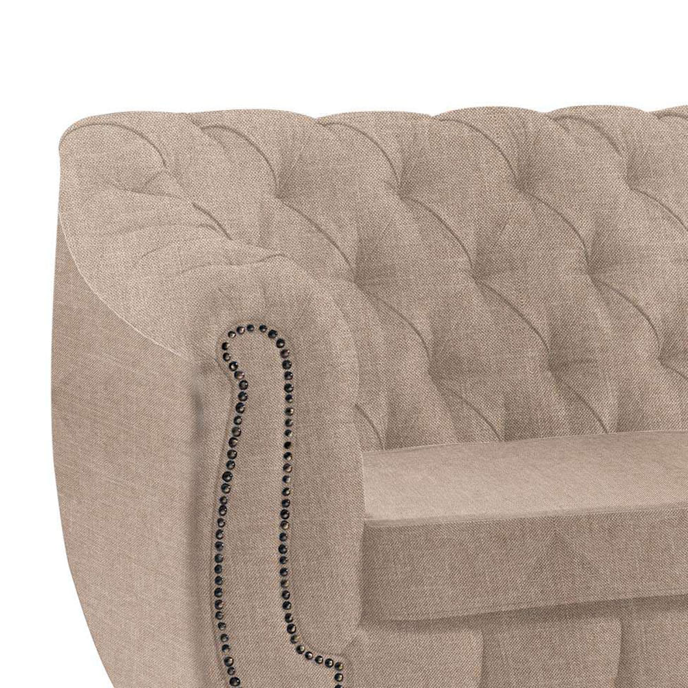 SOFÁ CHESTERFIELD 3 LUGARES LINHO BEGE - Elegancy Design