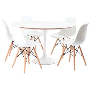 mesa-saarinen-branca-5-cadeiras-eames-branca