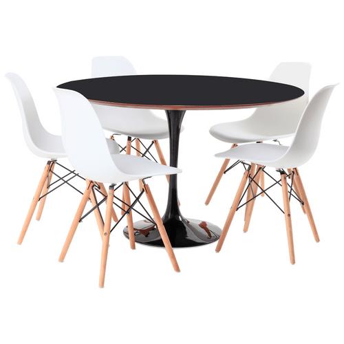 mesa-saarinen-preta-5-cadeiras-eames-branca
