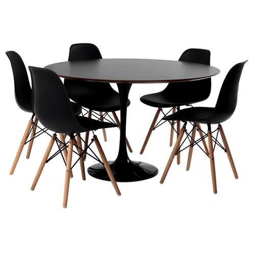 mesa-saarinen-preta-5-cadeiras-eames-preta