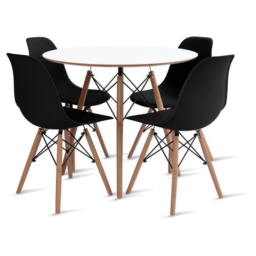 mesa-eames-90-com-4-cadeiras-eames-preta