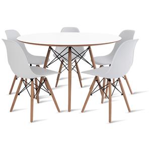 mesa-eames-120-com-5-cadeiras-eames-branca