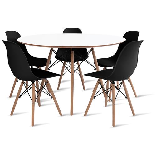 mesa-eames-120-com-5-cadeiras-eames-preta