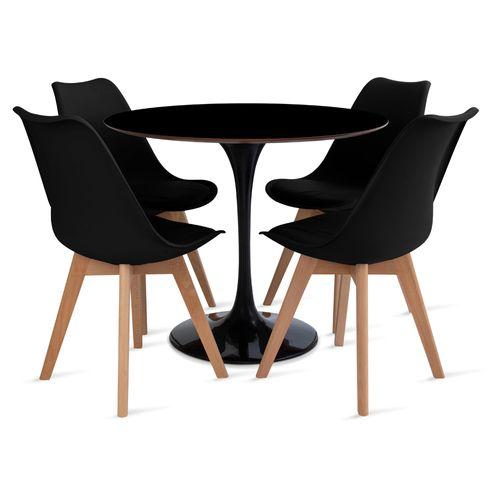 mesa_saarinen_90cm_4_cadeiras_leda_1_preto
