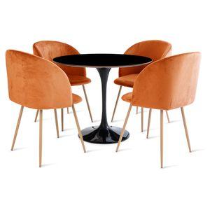 mesa_saarinen_90cm_4_cadeiras_milla_1_laranja