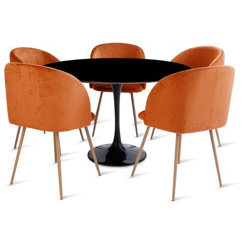 mesa_saarinen_120cm_5_cadeiras_milla_1_laranja