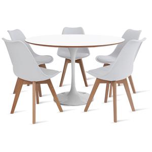 mesa-saarinen-120-com-5-cadeiras-leda-branca