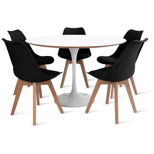 mesa-saarinen-120-com-5-cadeiras-leda-preta