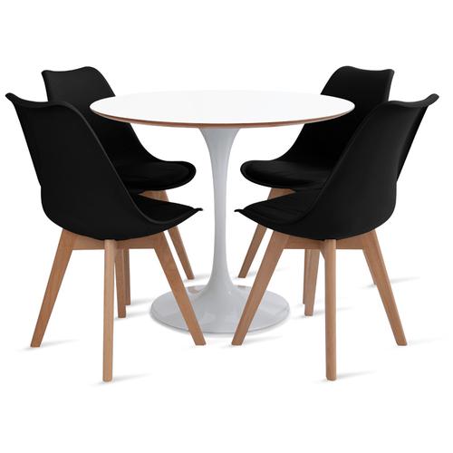 mesa-saarinen-90-com-4-cadeiras-Leda-preta