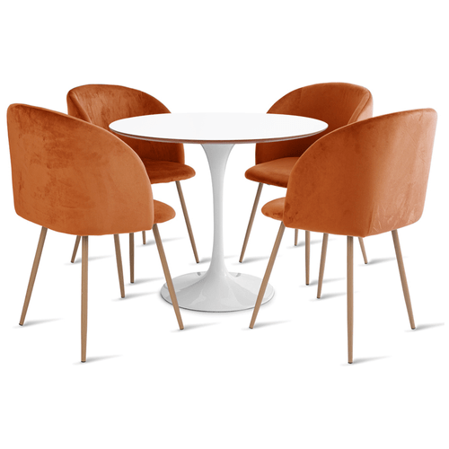 mesa-saarinen-90-com-4-cadeiras-milla-laranja