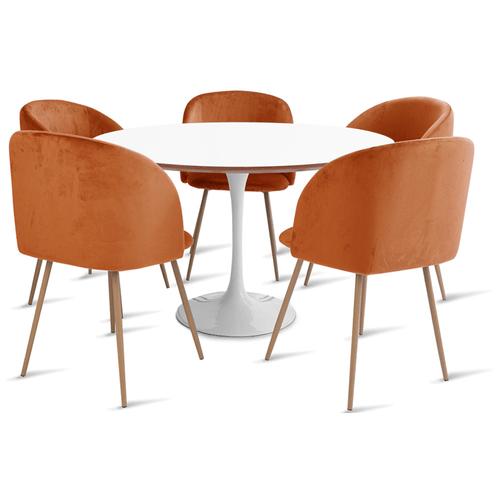 mesa-saarinen-120-com-5-cadeiras-milla-laranja