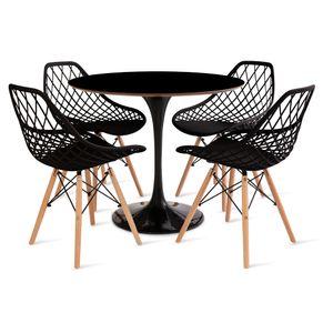 mesa_saarinen_90cm_4_cadeiras_kaila_1_preta