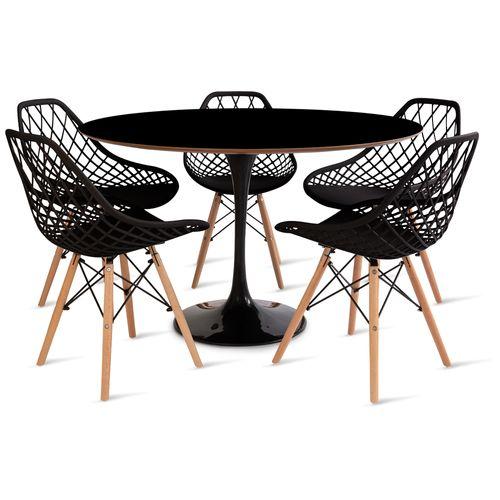 mesa_saarinen_120cm_5_cadeiras_kaila_1_preta