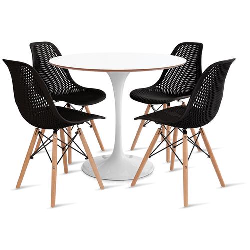 mesa-saarinen-90-com-4-cadeiras-colmeia-preta