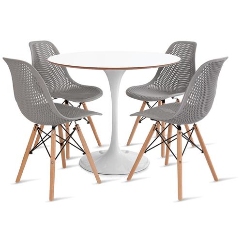 mesa-saarinen-90-com-4-cadeiras-colmeia-cinza