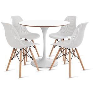 mesa-saarinen-90-com-4-cadeiras-colmeia-branca