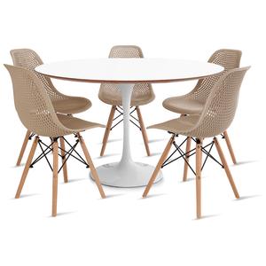 mesa-saarinen-120-com-5-cadeiras-colmeia-fendi