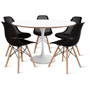 mesa-saarinen-120-com-5-cadeiras-colmeia-preta
