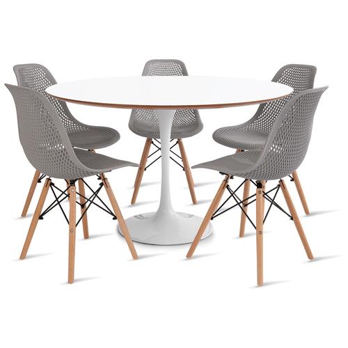 mesa-saarinen-120-com-5-cadeiras-colmeia-cinza