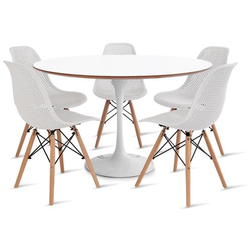 mesa-saarinen-120-com-5-cadeiras-colmeia-branca