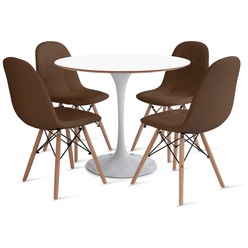 mesa-saarinen-90-com-4-cadeiras-botone-marrom
