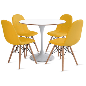 mesa-saarinen-90-com-4-cadeiras-botone-amarela