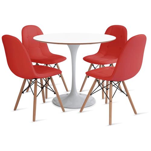 mesa-saarinen-90-com-4-cadeiras-botone-vermelha