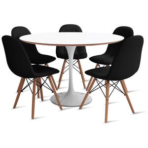 mesa-saarinen-120-com-5-cadeiras-botone-preta