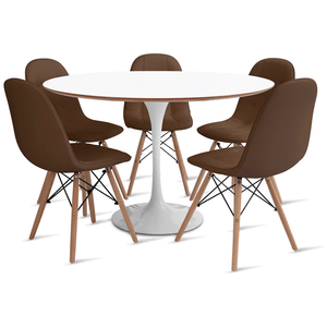 mesa-saarinen-120-com-5-cadeiras-botone-marrom