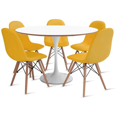 mesa-saarinen-120-com-5-cadeiras-botone-amarela