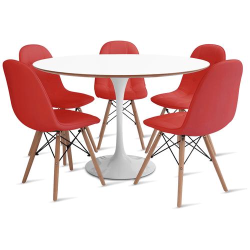 mesa-saarinen-120-com-5-cadeiras-botone-vermelha