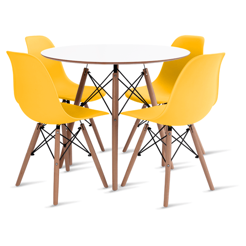 mesa-eames-branca-90-com-4-cadeiras-eames-amarela