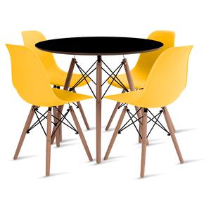 mesa-eames-preta-90-com-4-cadeiras-eames-amarela