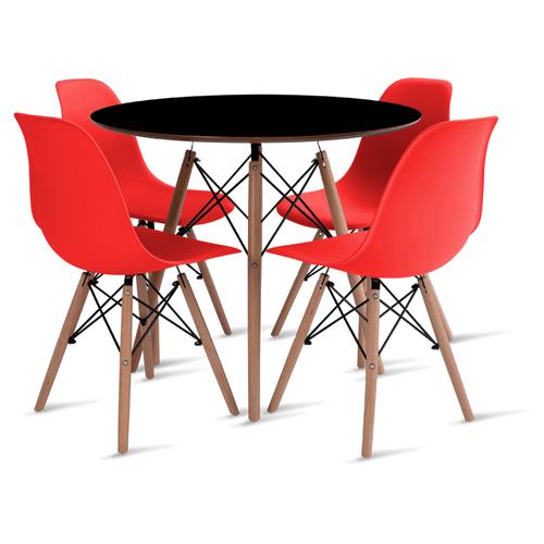 mesa-eames-preta-90-com-4-cadeiras-eames-vermelha