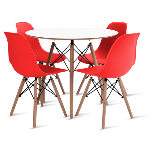 mesa-eames-branca-90-com-4-cadeiras-eames-vermelha
