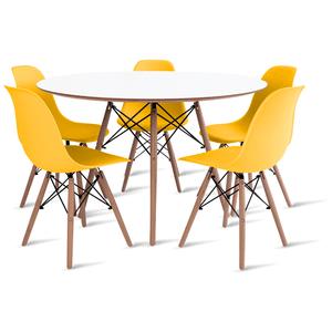 mesa-eames-branca-120-com-5-cadeiras-eames-amarela