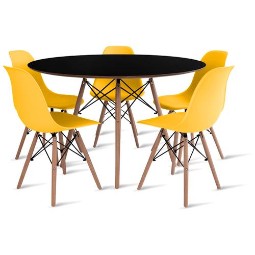 mesa-eames-preta-120-com-5-cadeiras-eames-amarela