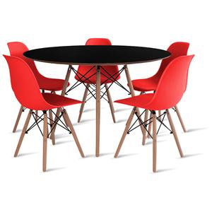 mesa-eames-preta-120-com-5-cadeiras-eames-vermelha