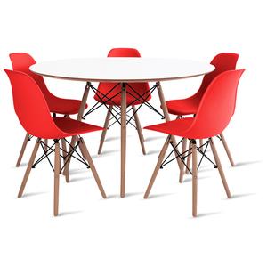mesa-eames-branca-120-com-5-cadeiras-eames-vermelha